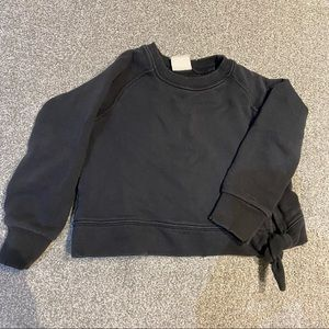 washed black crewneck with tie detail